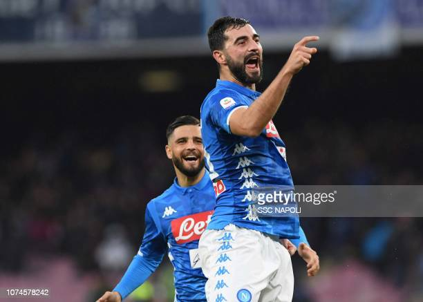 Raul Albiol of Napoli celebrates after scoring the first goal during the Serie A match between SSC Napoli and Spal at Stadio San Paolo on December...