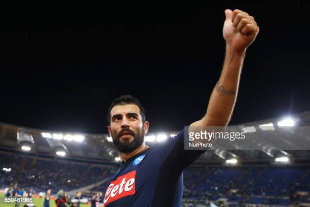 Raul Albiol of Napoli celebrating at the end of the match during the Serie A match between SS Lazio and SSC Napoli at Stadio Olimpico on September 20...