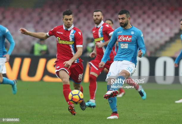 Raul Albiol of Napoli competes for the ball with Alberto Grassi of Spal during the serie A match between SSC Napoli and Spal at Stadio San Paolo on...