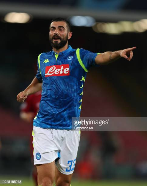 Raul Albiol of Napoli during the Group C match of the UEFA Champions League between SSC Napoli and Liverpool at Stadio San Paolo on October 3, 2018...