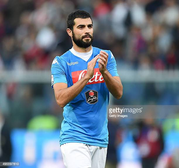 Raul Albiol of Napoli in action during the Serie A match between Genoa CFC and SSC Napoli at Stadio Luigi Ferraris on November 1 2015 in Genoa Italy