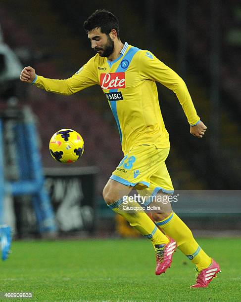 Raul Albiol of Napoli in action during the TIM Cup match between SSC Napoli and SS Lazio at Stadio San Paolo on January 29 2014 in Naples Italy