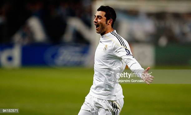 Raul Albiol of Real Madrid celebrates after scoring a goal during the UEFA Champions League Group C match between Marseille and Real Madrid at Stade...
