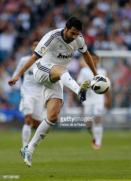 Raul Albiol of Real Madrid controls the ball during the La Liga match between Real Madrid and Real Betis Balompie at Estadio Santiago Bernabeu on...