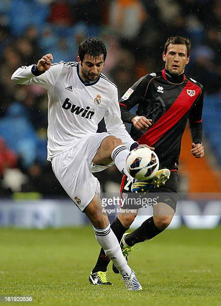 Raul Albiol of Real Madrid passes the ball during the La Liga match between Real Madrid and Rayo Vallecano at Estadio Santiago Bernabeu on February...