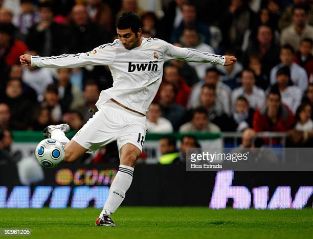 Raul Albiol of Real Madrid shoots on goal during the Copa del Rey match between Real Madrid and AD Alcorcon at Estadio Santiago Bernabeu on November...