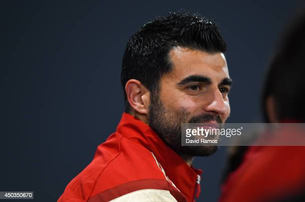 Raul Albiol of Spain faces the media during Spain press conference at the Centro de Entrenamiento do Caju on June 9 2014 in Curitiba Brazil