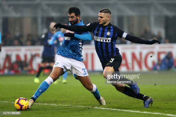 Raul Albiol of Ssc Napoli and Mauro Icardi of Fc Internazionale in action during the Serie A football match between FC Internazionale and Ssc Napoli....