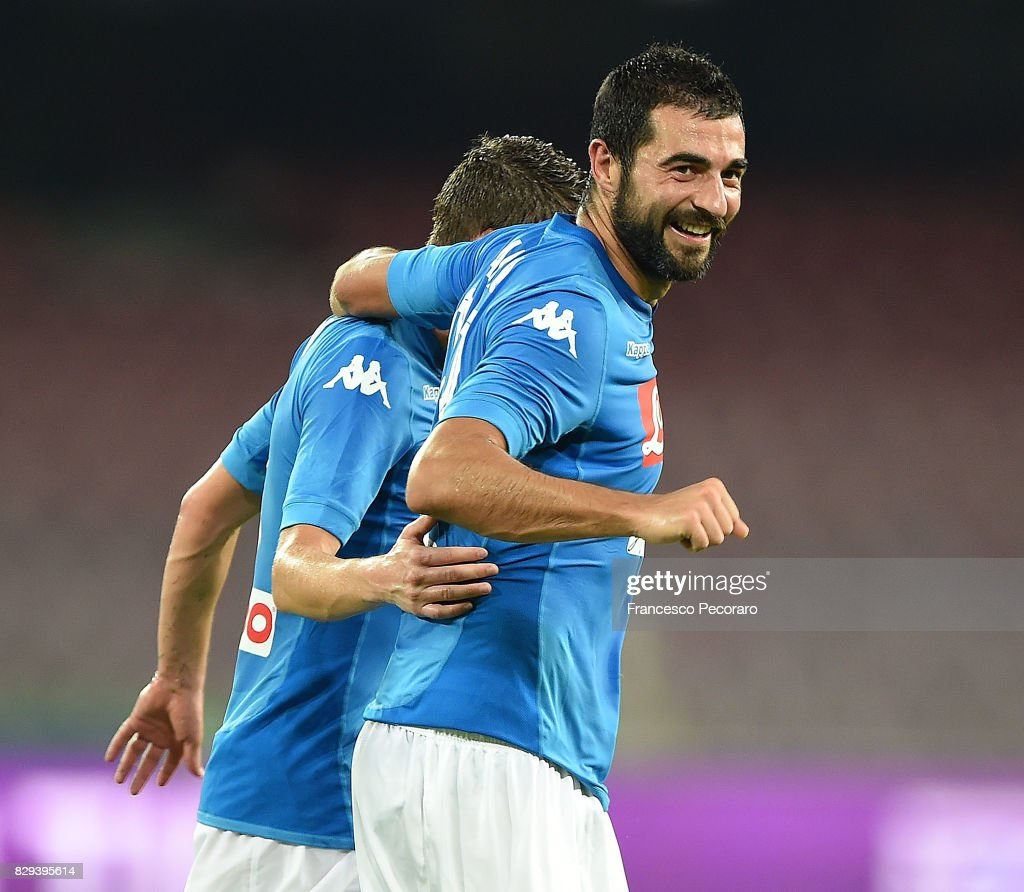 Raul Albiol of SSC Napoli celebrates after scoring goal 2-0 during the pre-season friendly match between SSC Napoli and Espanyol at Stadio San Paolo on August 10, 2017 in Naples, Italy.