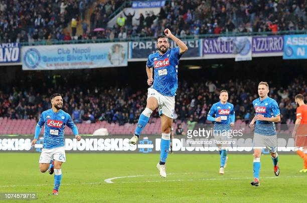 Raul Albiol of SSC Napoli celebrates after scoring the 10 goal during the Serie A match between SSC Napoli and Spal at Stadio San Paolo on December...