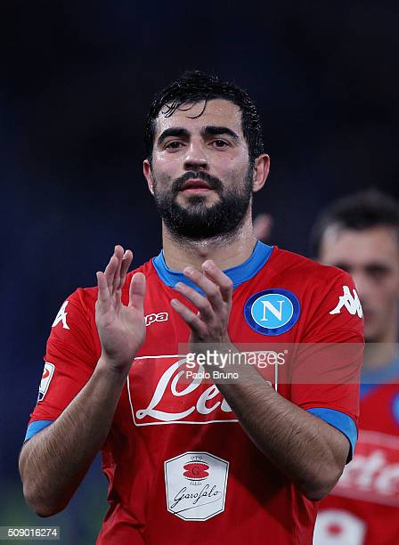 Raul Albiol of SSC Napoli greets the fans after the Serie A match between SS Lazio and SSC Napoli at Stadio Olimpico on February 3 2016 in Rome Italy