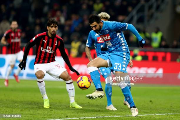 Raul Albiol of Ssc Napoli in action during the Serie A football match between Ac Milan and Ssc Napoli. The match end in a tie 0-0.