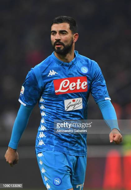Raul Albiol of SSC Napoli looks on during the Serie A match between AC Milan and SSC Napoli at Stadio Giuseppe Meazza on January 26 2019 in Milan...