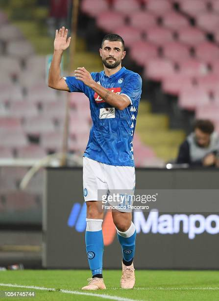 Raul Albiol of SSC Napoli shows his disappointment after the Serie A match between SSC Napoli and AS Roma at Stadio San Paolo on October 28 2018 in...