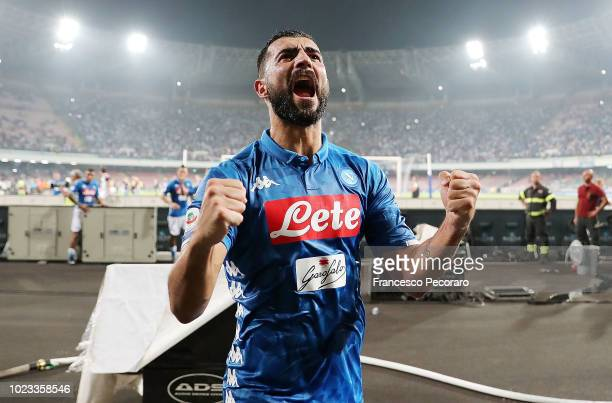 Raul Albiol player of SSC Napoli celebrates the victory after the serie A match between SSC Napoli and AC Milan at Stadio San Paolo on August 25,...