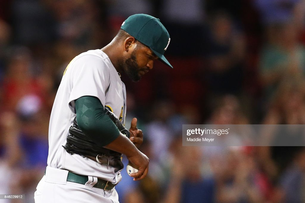 Raul Alcantara #50 of the Oakland Athletics reacts after Mookie Betts #50 of the Boston Red Sox hit a two run home run during the sixth inning at Fenway Park on September 12, 2017 in Boston, Massachusetts.