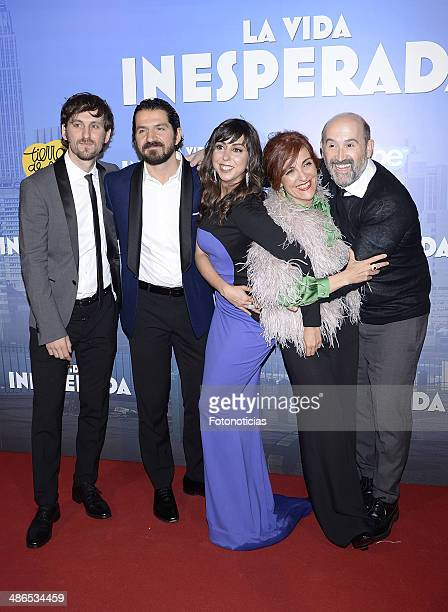 Raul Arevalo Jorge Torregrosa Carmen Ruiz Elvira Lindo and Javier Camara attend the 'La Vida Inesperada' premiere at Callao cinema on April 24 2014...