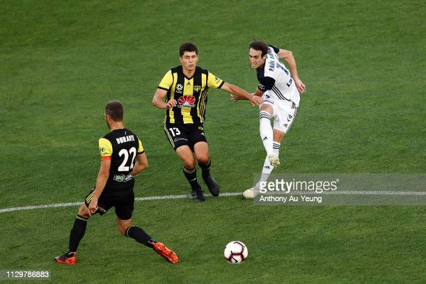 Raul Baena of the Victory takes a shot at goal during the ALeague match between the Wellington Phoenix and the Melbourne Victory at Eden Park on...