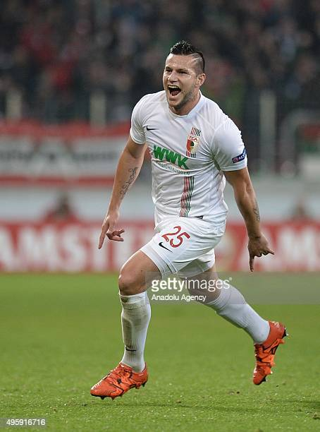 Raul Bobadilla of Augsburg celebrates after scoring during the UEFA Europa League group L soccer match between FC Augsburg and AZ Alkmaar at the...