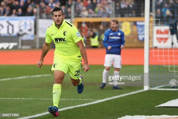 Raul Bobadilla of Augsburg celebrates his team's second goal during the Bundesliga match between SV Darmstadt 98 and FC Augsburg at...