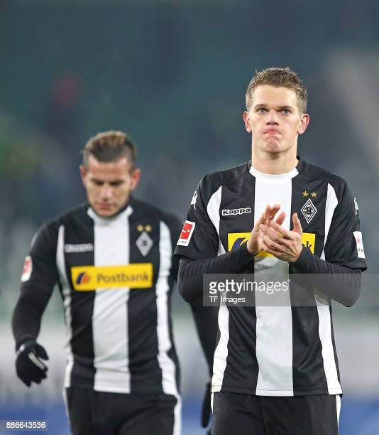 Raul Bobadilla of Borussia Moenchengladbach and Matthias Ginter of Borussia Moenchengladbach looks dejected during the Bundesliga match between VfL...