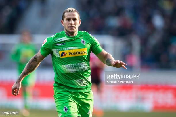 Raul Bobadilla of Borussia Moenchengladbach during the Bundesliga match between Hannover 96 and Borussia Moenchengladbach at HDIArena on February 24...