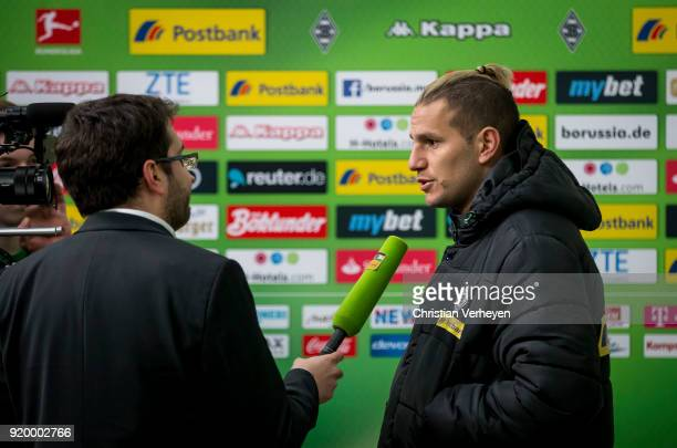 Raul Bobadilla of Borussia Moenchengladbach gives an interview after the Bundesliga match between Borussia Moenchengladbach and Borussia Dortmund at...