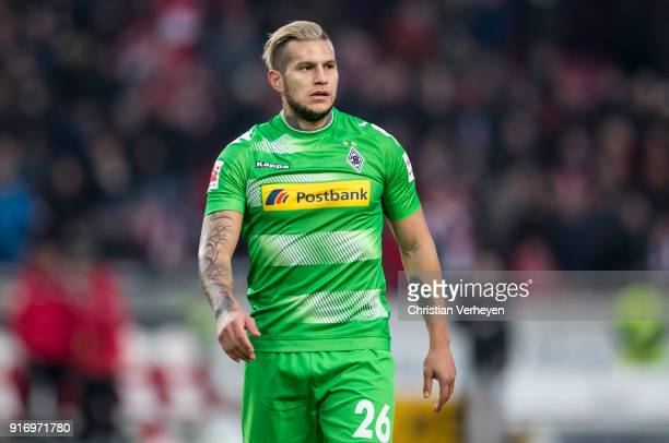 Raul Bobadilla of Borussia Moenchengladbach reacts after the Bundesliga match between VfB Stuttgart and Borussia Moenchengladbach at MercedesBenz...