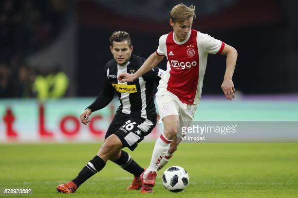 Raul Bobadilla of Borussia Monchengladbach Frenkie de Jong of Ajax during the international friendly match between Ajax Amsterdam and Borussia...