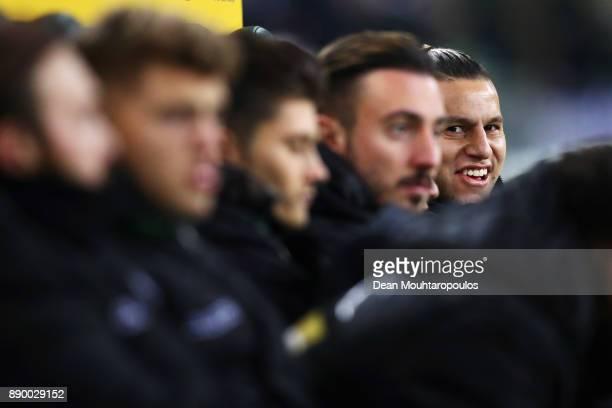 Raul Bobadilla of Borussia Monchengladbach smiles on the bench prior to the Bundesliga match between Borussia Moenchengladbach and FC Schalke 04 at...