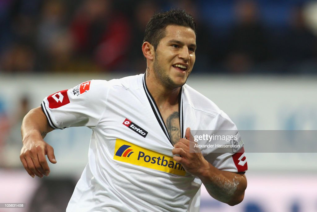 Raul Bobadilla of Gladbach celebrates scoring his first team goal during the Bundesliga match between 1899 Hoffenheim and Borussia Moenchengladbach at Rhein-Neckar Arena on October 17, 2010 in Sinsheim, Germany.