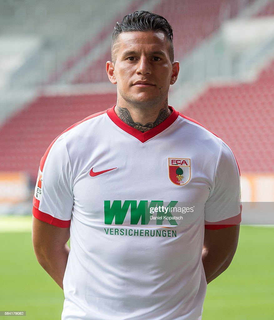Raul Bobadilla poses during the Team Presentation of FC Augsburg on July 28, 2016 in Augsburg, Germany.