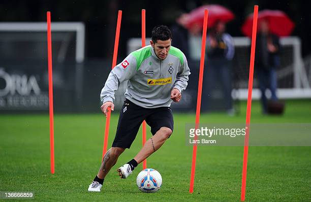 Raul Bobadilla runs with the ball during a training session at day six of Borussia Moenchengladbach training camp on January 10 2012 in Belek Turkey