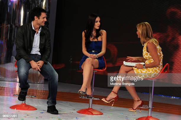 Raul BovaMichela Quattrociocche and Simona Ventura during the Italian TV show Quelli Che il Calcio on February 21 2010 in Milan Italy