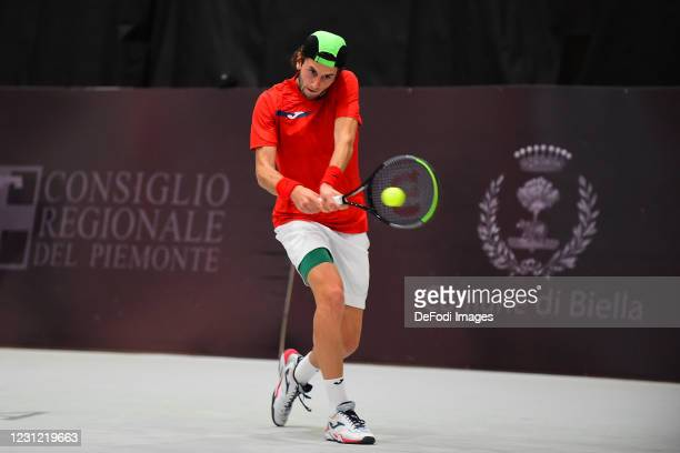 Raul Brancaccio of Italy controls the ball during the Biella ATP Challenger 125 Qualification between Daniel Mausur and Luca Vanni at Palapajetta...