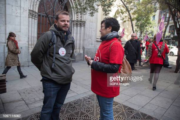 Raul Camargo deputy of Podemos in the Assembly of the Community of Madrid listens to the spokesperson of those affected by the dismissals Hundreds of...