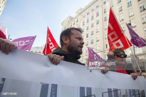 Raul Camargo deputy of Podemos in the Assembly of the Community of Madrid protests with those affected by the Directorate General for Employment in...