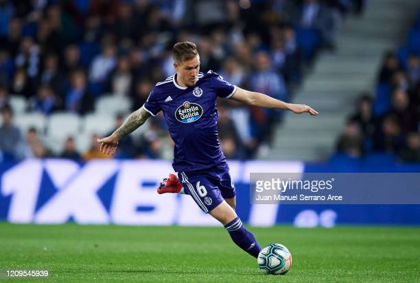 Raul Carnero of Real Valladolid CF in action during the Liga match between Real Sociedad and Real Valladolid CF at Estadio Anoeta on February 28 2020...