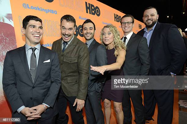 Raul Castillo Murray Bartlett Frankie J Alvarez Lauren Weedman Jonathan Groff and Daniel Franzese pose at HBO's 'Looking' season 2 premiere at the...