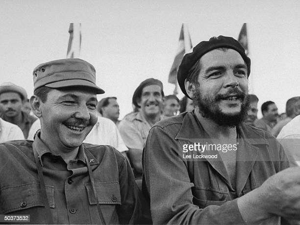 Raul Castro brother of Fidel and Che Guevara Cuban hero attending 26th of July celebration of the revolution