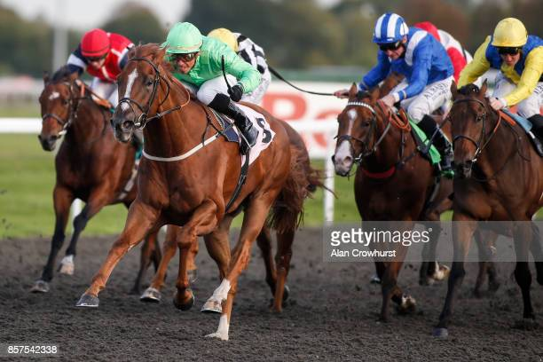 Raul Da Silva riding Tuscany win The Racing UK Profits Returned To Racing Handicap Stakes at Kempton Park racecourse on October 4 2017 in Sunbury...