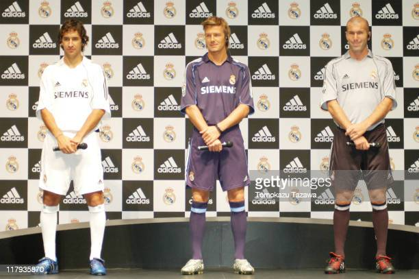 Raul David Beckham and Zinedine Zidane at the press conference wearing the new official Real Madrid uniforms