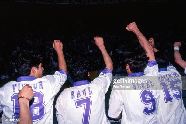 Raul, Davor Suker and Fernando Morientes of Real Madrid celebrate the victory during the Champions League match between Juventus Turin and Real...