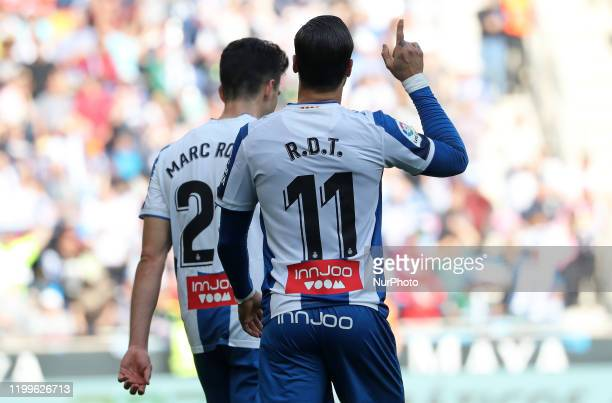 Raul de Tomas goal celebration during the match between RCD Espanyol and RDC Mallorca corresponding to the week 23 of the Liga Santander played at...