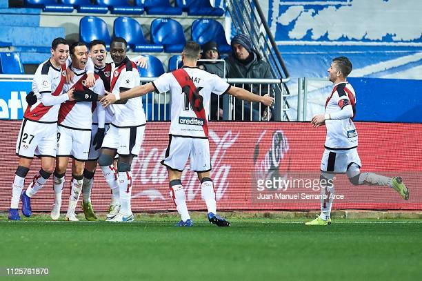 Raul de Tomas Gomez celebrates after scoring during the La Liga match between Deportivo Alaves and Rayo Vallecano de Madrid at Estadio de...
