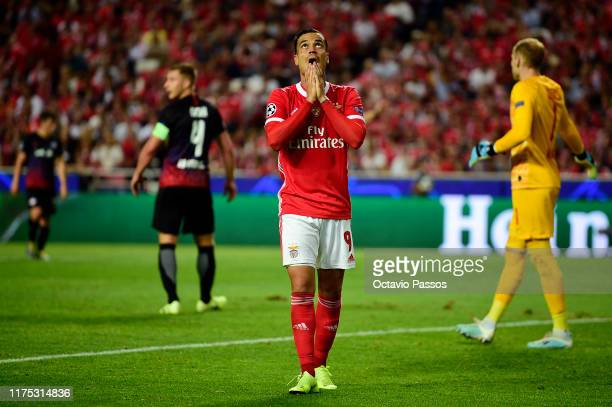 Raul de Tomas of Benfica reacts during the UEFA Champions League group G match between SL Benfica and RB Leipzig at Estadio da Luz on September 17,...