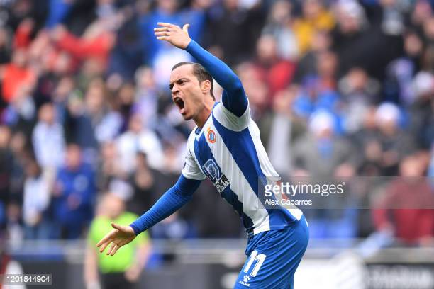 Raul de Tomas of Espanyol celebrates after scoring his team's first goal during the La Liga match between RCD Espanyol and Athletic Club at RCDE...