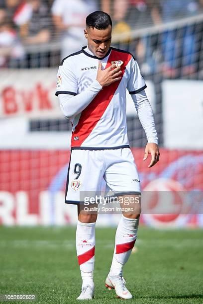 Raul de Tomas of Rayo Vallecano celebrates after scoring his team's first goal during the La Liga match between Rayo Vallecano de Madrid and Getafe...