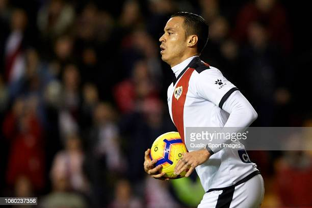 Raul de Tomas of Rayo Vallecano celebrates after scoring his team's first goal during the La Liga match between Rayo Vallecano de Madrid and...