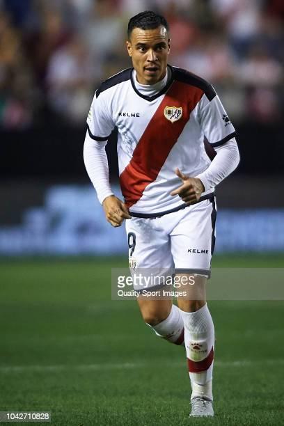 Raul de Tomas of Rayo Vallecano in action during the La Liga match between Rayo Vallecano de Madrid and RCD Espanyol at Campo de Futbol de Vallecas...